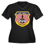 USS DRUM Women's Plus Size V-Neck Dark T-Shirt
