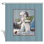 Snowman Mistleoe Christmas Shower Curtain