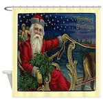 St Nicholas Santa and Sleigh Shower Curtain
