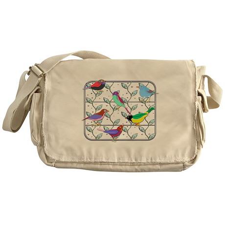 Leaf Trellis and Birds Messenger Bag