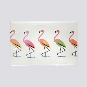 March of the Tropical Flamingos Rectangle Magnet