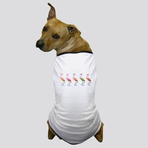 March of the Tropical Flamingos Dog T-Shirt