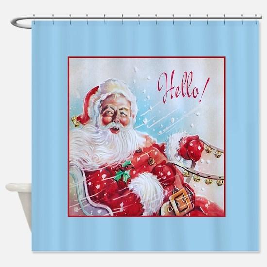 Jolly Santa in Sleigh Christmas Shower Curtain