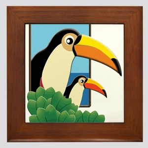 Mom and Baby Toucans in Tropical Window Framed Til