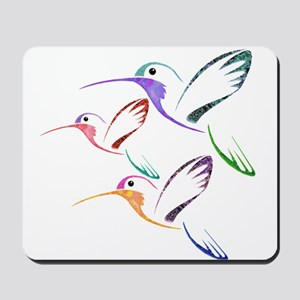 Patchwork Trio of Hummingbirds Mousepad