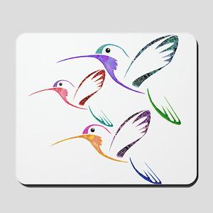 Patchwork Trio of Hummingbirds Mousepad