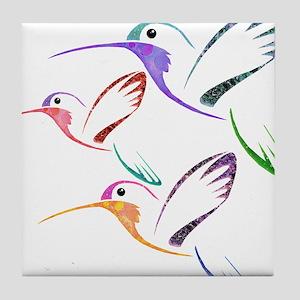 Patchwork Trio of Hummingbirds Tile Coaster