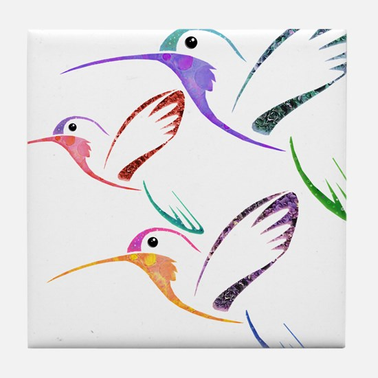 Patchwork Trio of Hummingbirds Tile Coaster