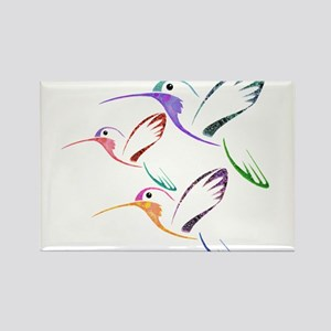 Patchwork Trio of Hummingbirds Rectangle Magnet