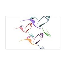 Patchwork Trio of Hummingbirds Wall Decal