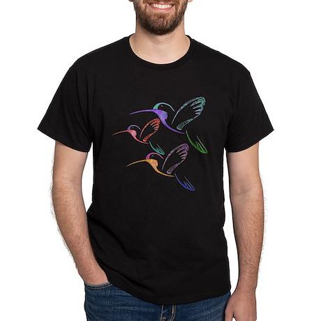 Patchwork Trio of Hummingbirds Dark T-Shirt