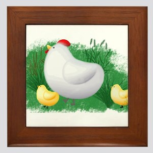 Momma Hen and Chicks Framed Tile