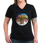 XMusic2 - Golden (#3) Women's V-Neck Dark T-Shirt