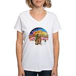 XMusic2 - Golden (#3) Women's V-Neck T-Shirt