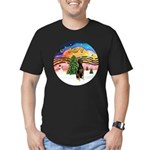 XMusic2 - Doberman (Nat) Men's Fitted T-Shirt (dar