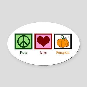 Peace Love Pumpkin Oval Car Magnet