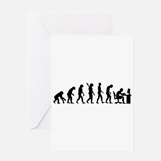 Computer office evolution Greeting Card