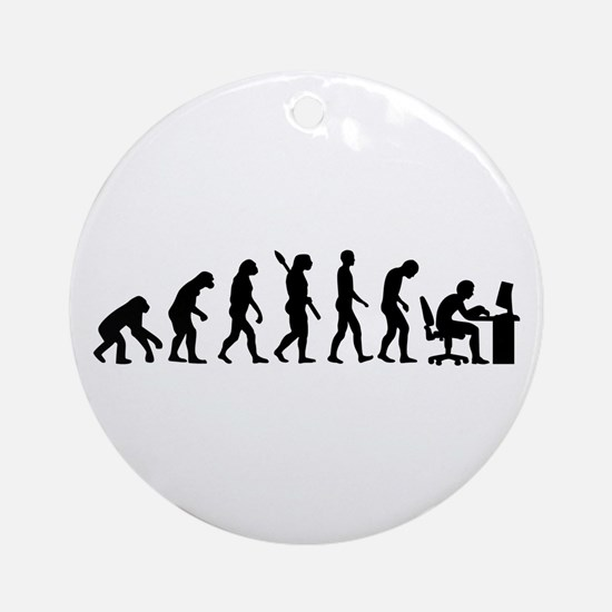 Computer office evolution Ornament (Round)