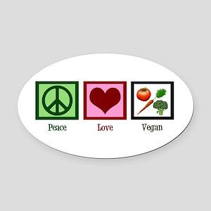 Peace Love Vegan Oval Car Magnet