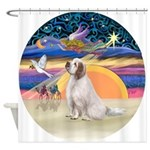 XmasAngel-ClumberSpaniel Shower Curtain