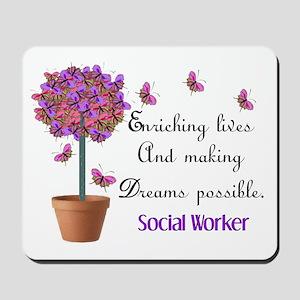 Social worker butterfly tree Mousepad