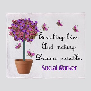 Social worker butterfly tree Throw Blanket