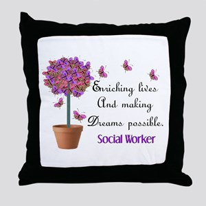 Social worker butterfly tree Throw Pillow