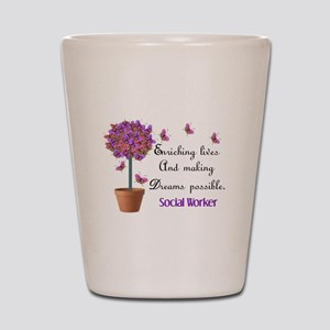 Social worker butterfly tree Shot Glass