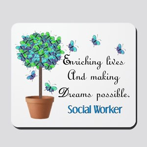 Social worker Butterfly Quote Mousepad