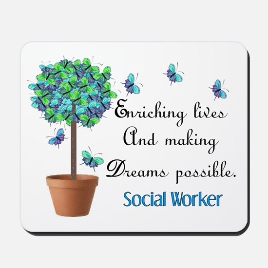 Social worker Butterfly Quote.PNG Mousepad