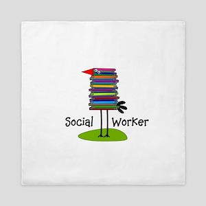 Social Worker Bird Books Queen Duvet