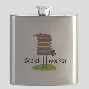 Social Worker Bird Books Flask