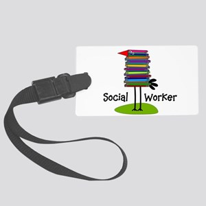 Social Worker Bird Books Large Luggage Tag