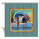 Nautical Santa Boat Christmas Shower Curtain