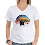 XMusic2-Puff Crested (BT) Women's V-Neck T-Shirt