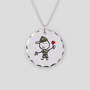 Boy & Silver Ribbon Necklace Circle Charm