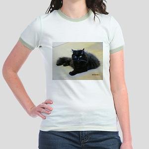 Black cat Jr. Ringer T-Shirt