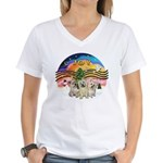 XMusic2 - Three Cairns Women's V-Neck T-Shirt