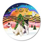 XMusic2-Two Fox Terriers Round Car Magnet