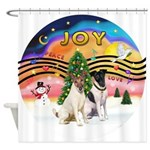 XMusic2-Two Fox Terriers Shower Curtain