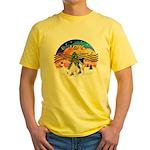 XMusic2-Two Fox Terriers Yellow T-Shirt