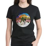 XMusic2-Two Fox Terriers Women's Dark T-Shirt