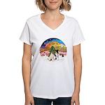 XMusic2-Two Fox Terriers Women's V-Neck T-Shirt