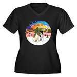 XMusic2-Two Fox Terriers Women's Plus Size V-Neck