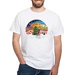 XMusic2-Fox T (brwn-wt) White T-Shirt