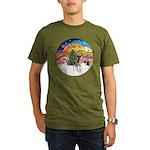 XMusic2-Fox T (brwn-wt) Organic Men's T-Shirt (dar