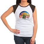 XMusic2-Fox T (brwn-wt) Women's Cap Sleeve T-Shirt