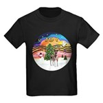 XMusic2-Fox T (brwn-wt) Kids Dark T-Shirt