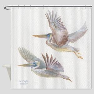 Pelicans in flight Shower Curtain