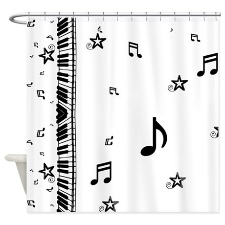 Piano and Music Notes Shower Curtain